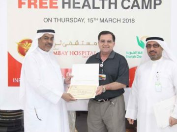 Thumbay hospital awards to the oncology team of Alzahra for charity breast screening with DINA mostafa, March 2018